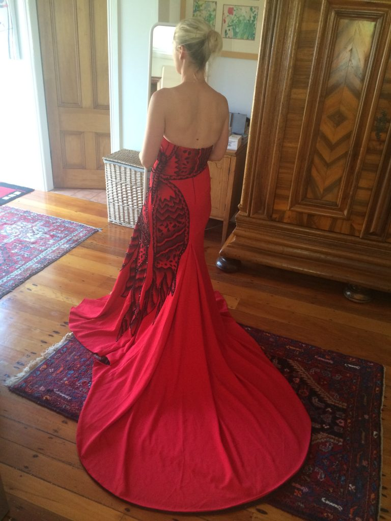 Back of the dress during the fitting