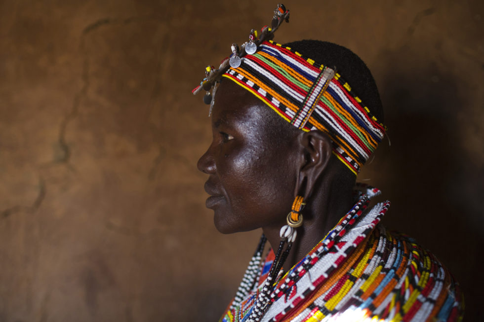 Jane Lengope, 40, poses in her home in the village of Umoja, Samburu, Kenya on February 19, 2015.